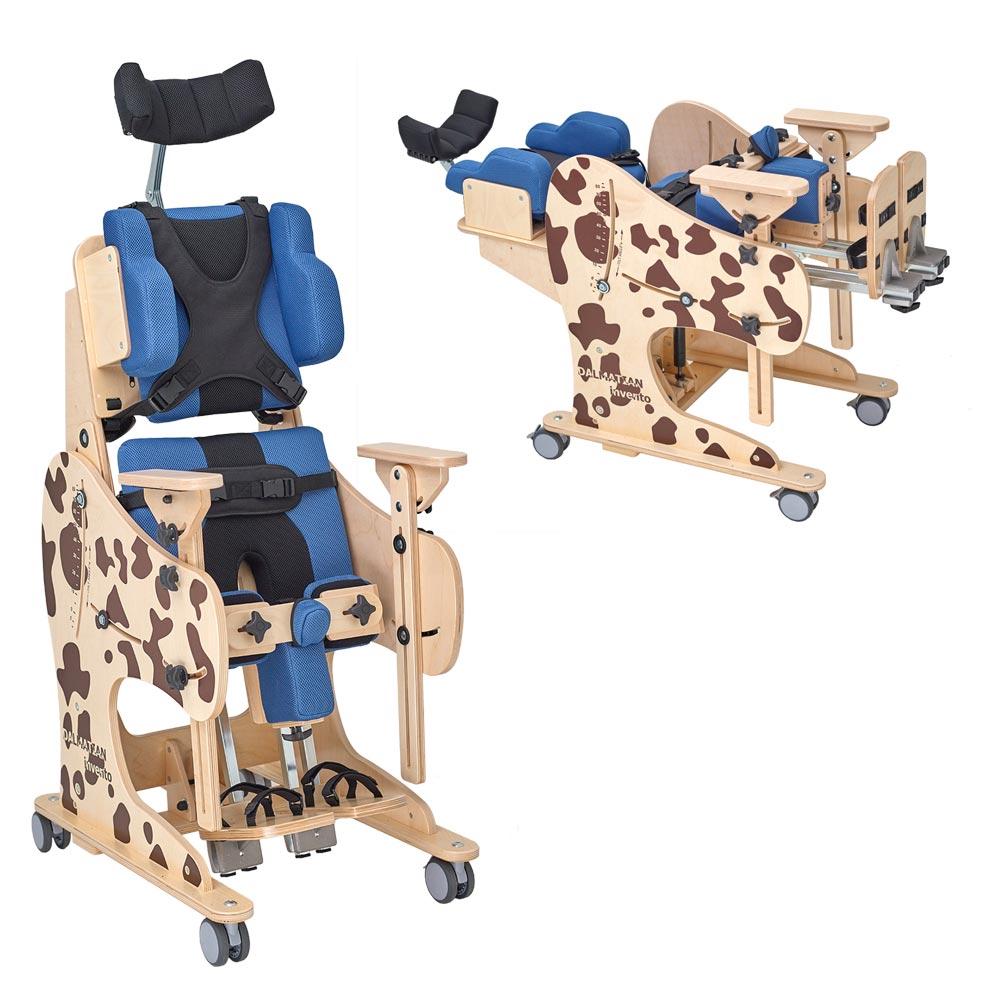 Multifunktionelle Stehhilfe mit Sitz- und Liegefunktion Dalmatiner